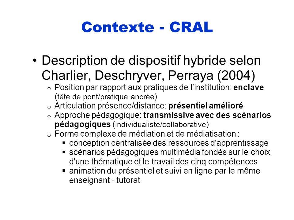 Contexte - CRAL Description de dispositif hybride selon Charlier, Deschryver, Perraya (2004) o Position par rapport aux pratiques de linstitution: enc