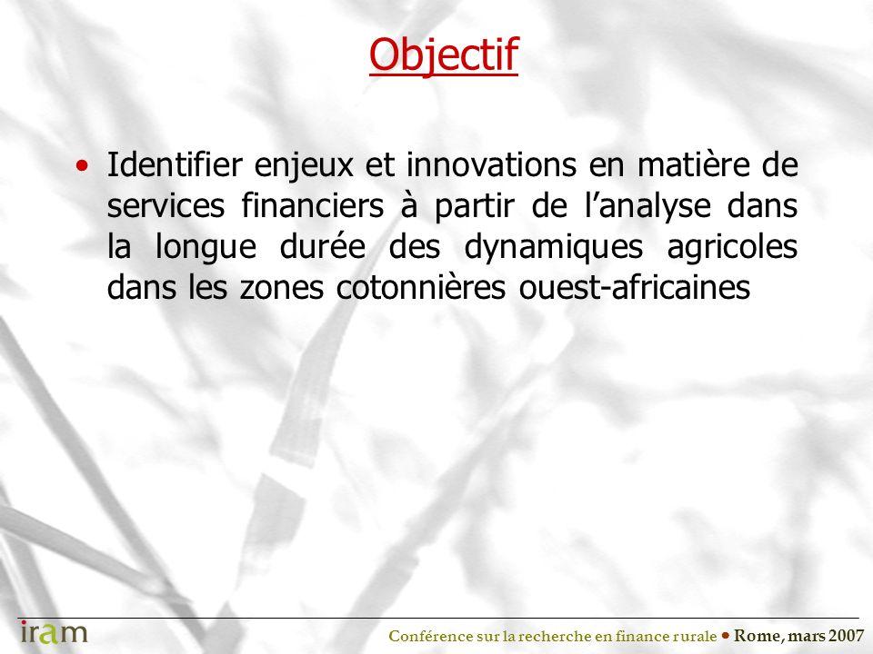 Conférence sur la recherche en finance rurale Rome, mars 2007 Objectif Identifier enjeux et innovations en matière de services financiers à partir de lanalyse dans la longue durée des dynamiques agricoles dans les zones cotonnières ouest-africaines