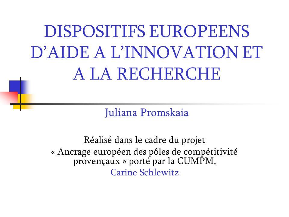DISPOSITIFS EUROPEENS DAIDE A LINNOVATION ET A LA RECHERCHE Juliana Promskaia Réalisé dans le cadre du projet « Ancrage européen des pôles de compétit