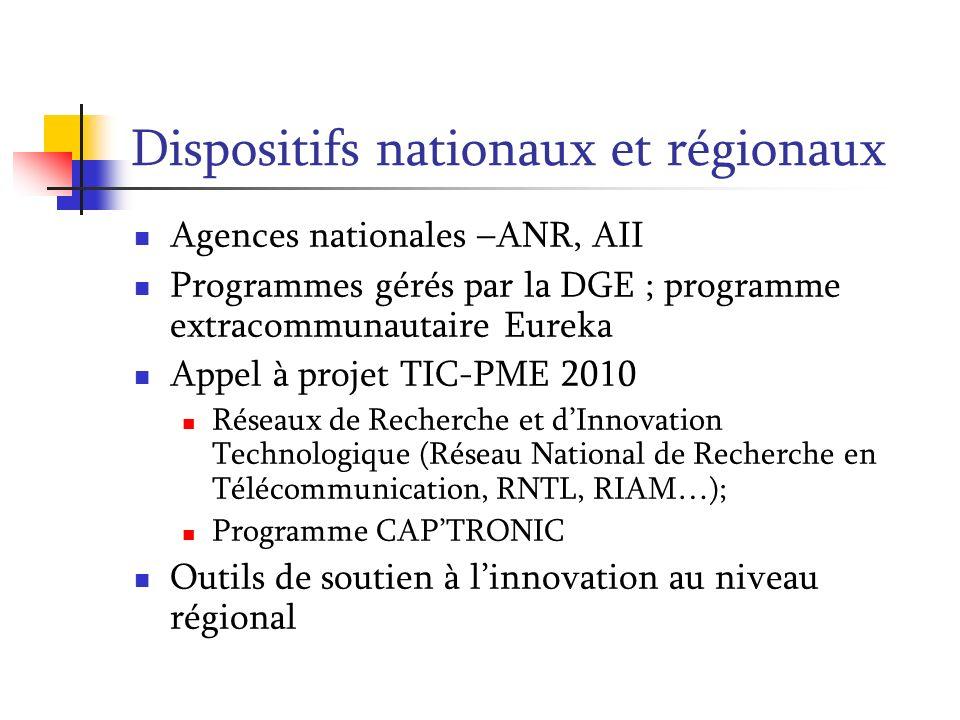Dispositifs nationaux et régionaux Agences nationales –ANR, AII Programmes gérés par la DGE ; programme extracommunautaire Eureka Appel à projet TIC-P