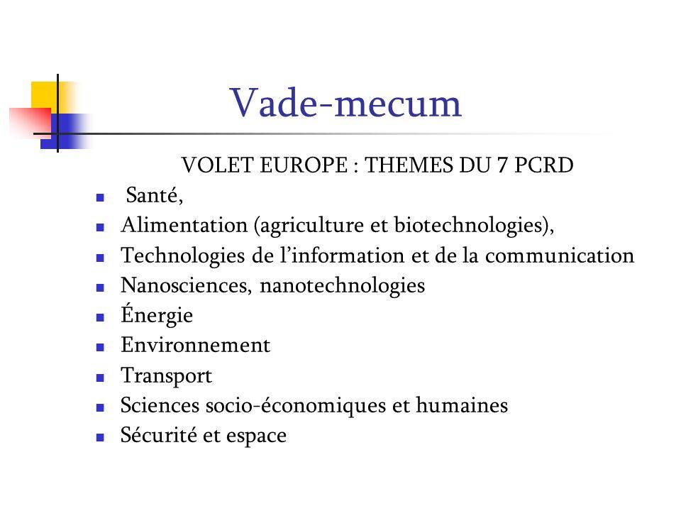 Vade-mecum Volet Europe 7 e PCRD, COOPERATION Dimensions : Recherche collaborative (pôles dexcellence) Initiatives Technologiques conjointes Coordination des programmes non communautaires Coopération internationale