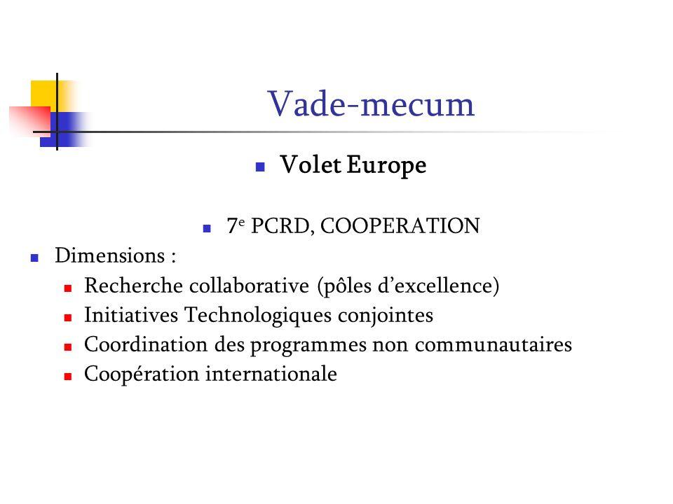 Vade-mecum Volet Europe 7 e PCRD, COOPERATION Dimensions : Recherche collaborative (pôles dexcellence) Initiatives Technologiques conjointes Coordinat