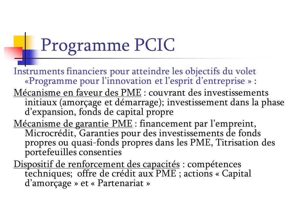 Programme PCIC Instruments financiers pour atteindre les objectifs du volet «Programme pour linnovation et lesprit dentreprise » : Mécanisme en faveur