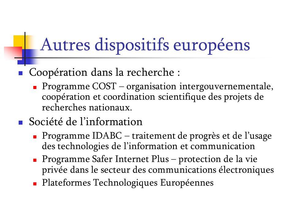 Autres dispositifs européens Coopération dans la recherche : Programme COST – organisation intergouvernementale, coopération et coordination scientifi