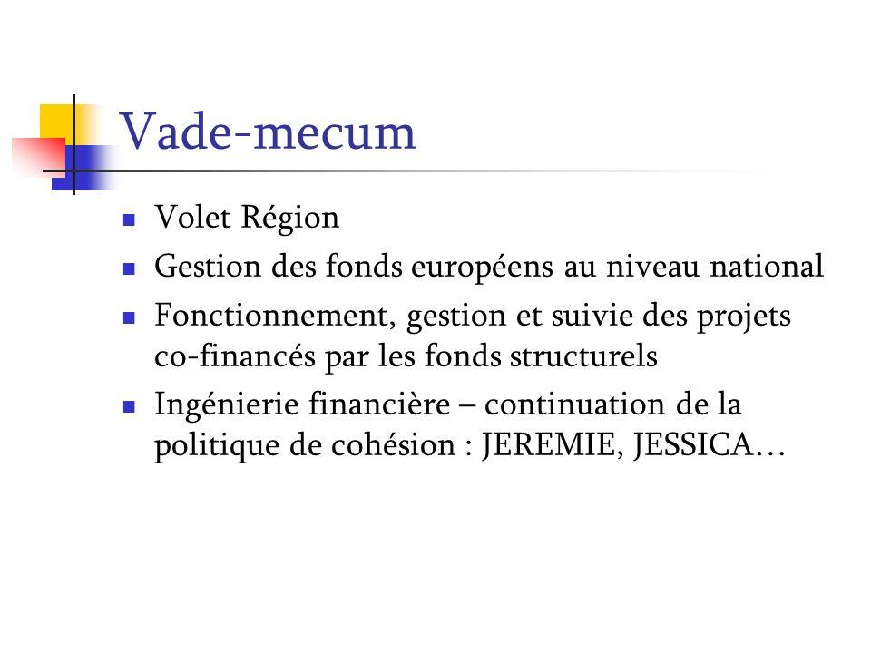 Vade-mecum Volet Région Gestion des fonds européens au niveau national Fonctionnement, gestion et suivie des projets co-financés par les fonds structu