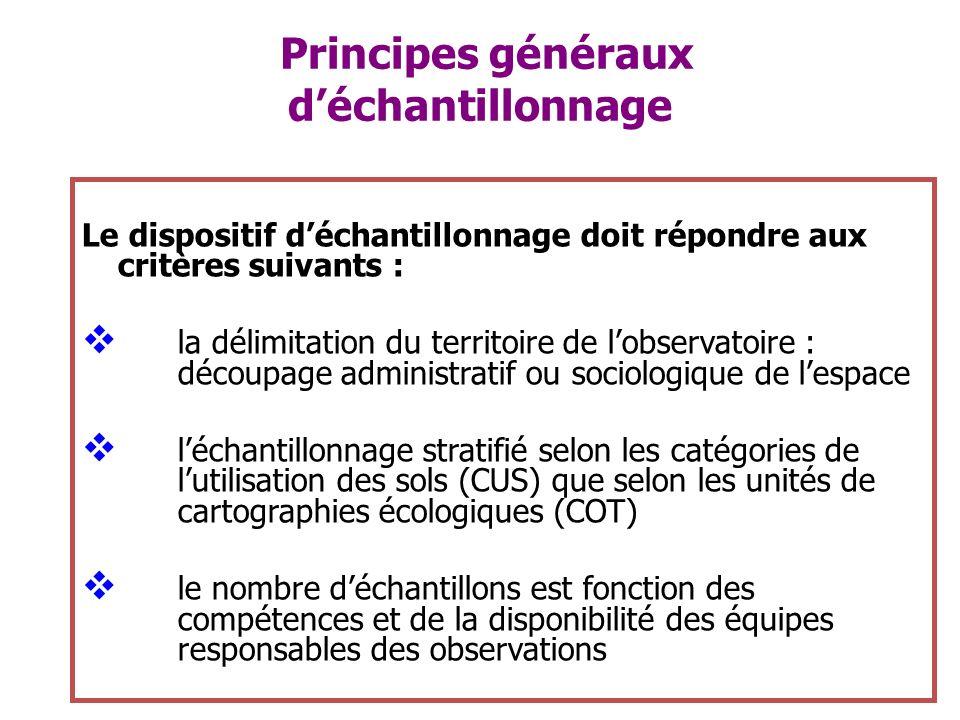 Principes généraux déchantillonnage Le dispositif déchantillonnage doit répondre aux critères suivants : la délimitation du territoire de lobservatoir