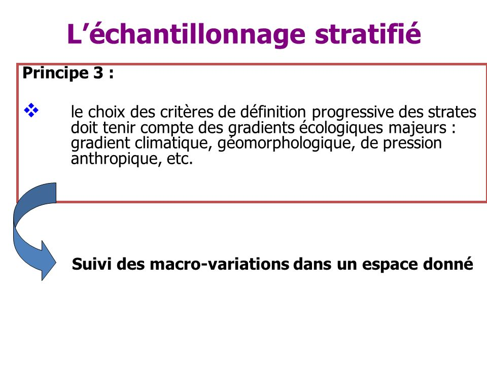 Léchantillonnage stratifié Principe 3 : le choix des critères de définition progressive des strates doit tenir compte des gradients écologiques majeur