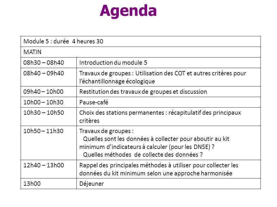 Agenda Module 5 : durée 4 heures 30 MATIN 08h30 – 08h40Introduction du module 5 08h40 – 09h40Travaux de groupes : Utilisation des COT et autres critèr
