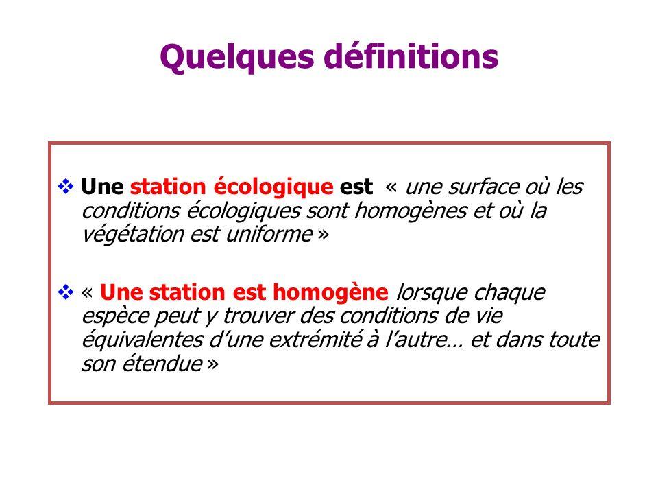 Quelques définitions Une station écologique est « une surface où les conditions écologiques sont homogènes et où la végétation est uniforme » « Une st