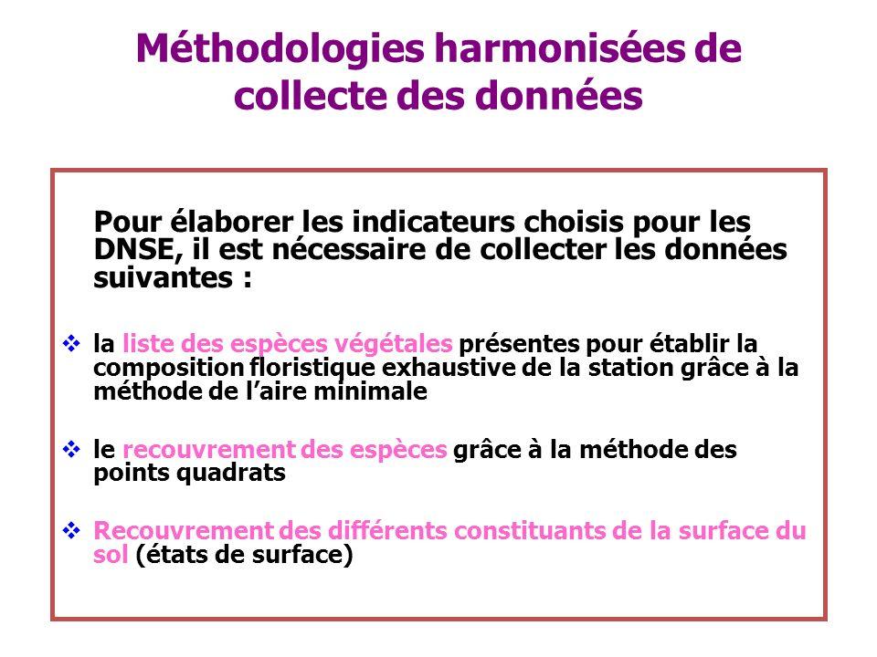 Méthodologies harmonisées de collecte des données Pour élaborer les indicateurs choisis pour les DNSE, il est nécessaire de collecter les données suiv