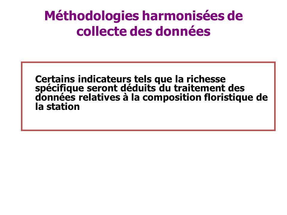 Méthodologies harmonisées de collecte des données Certains indicateurs tels que la richesse spécifique seront déduits du traitement des données relati