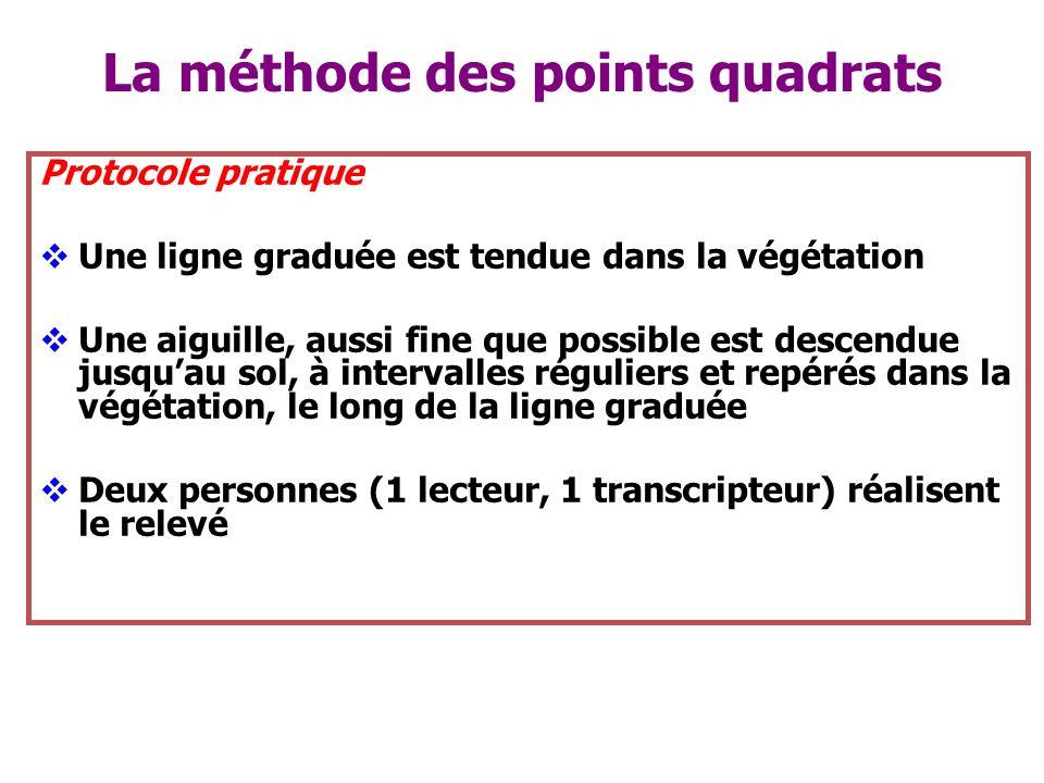 La méthode des points quadrats Protocole pratique Une ligne graduée est tendue dans la végétation Une aiguille, aussi fine que possible est descendue