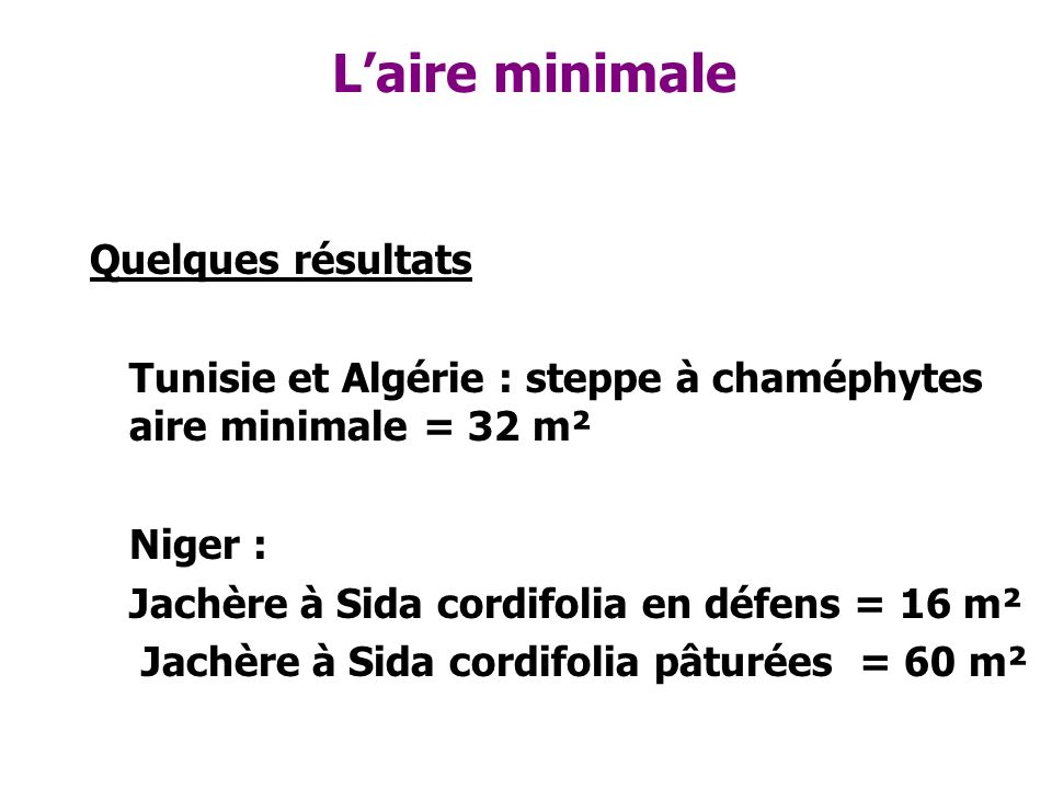 Laire minimale Quelques résultats Tunisie et Algérie : steppe à chaméphytes aire minimale = 32 m² Niger : Jachère à Sida cordifolia en défens = 16 m²