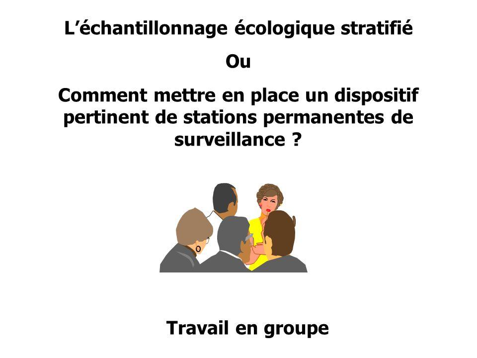 Léchantillonnage écologique stratifié Ou Comment mettre en place un dispositif pertinent de stations permanentes de surveillance ? Travail en groupe