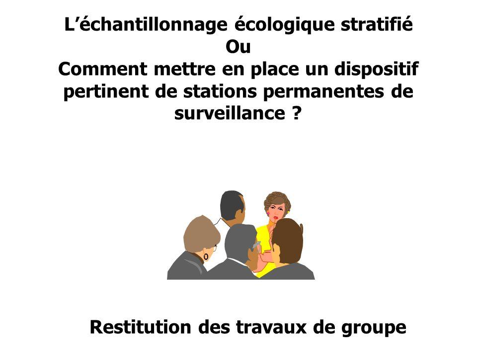 Léchantillonnage écologique stratifié Ou Comment mettre en place un dispositif pertinent de stations permanentes de surveillance ? Restitution des tra