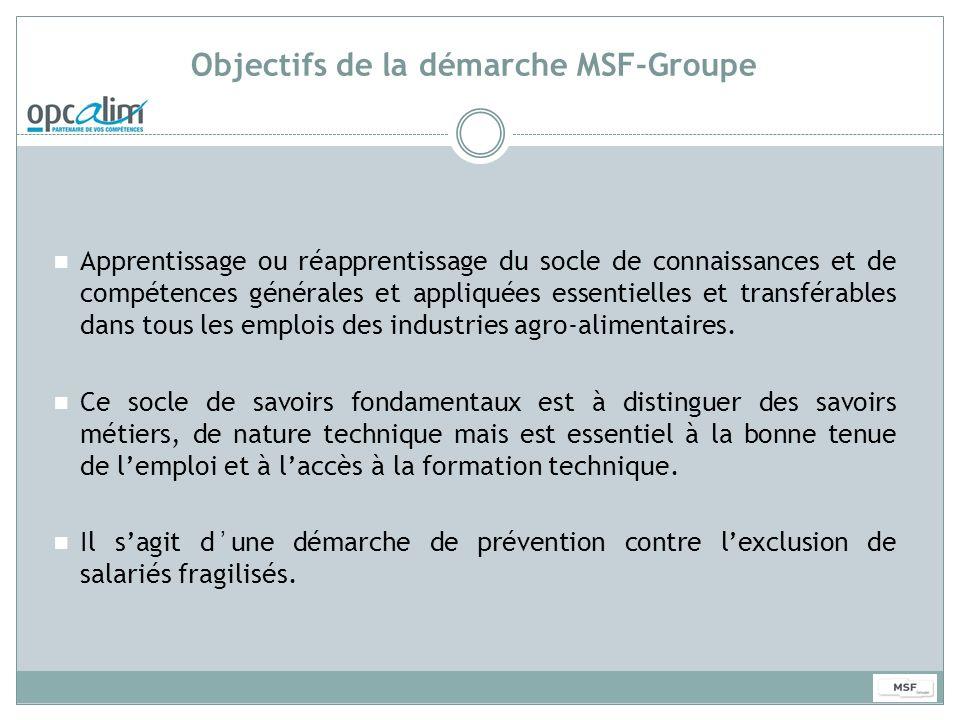 Objectifs de la démarche MSF-Groupe Apprentissage ou réapprentissage du socle de connaissances et de compétences générales et appliquées essentielles
