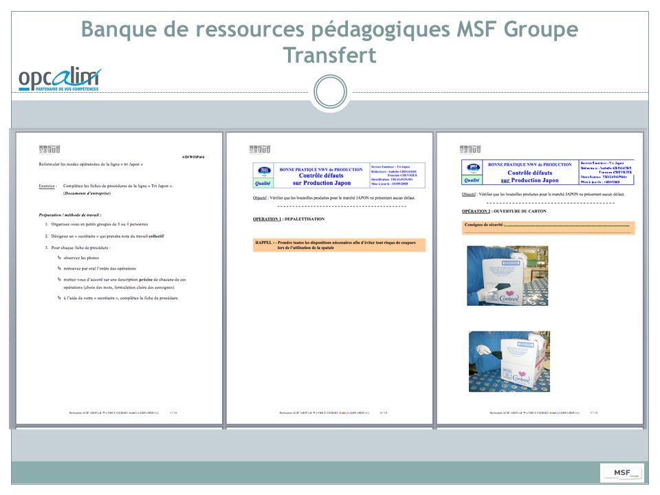 Banque de ressources pédagogiques MSF Groupe Transfert
