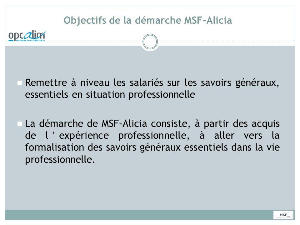 Objectifs de la démarche MSF-Alicia Remettre à niveau les salariés sur les savoirs généraux, essentiels en situation professionnelle La démarche de MS