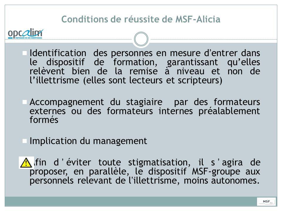 Conditions de réussite de MSF-Alicia Identification des personnes en mesure dentrer dans le dispositif de formation, garantissant quelles relèvent bie
