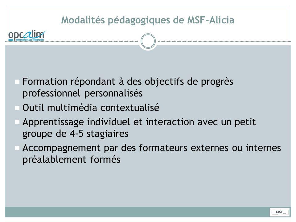 Modalités pédagogiques de MSF-Alicia Formation répondant à des objectifs de progrès professionnel personnalisés Outil multimédia contextualisé Apprent