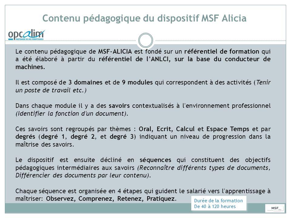 Contenu pédagogique du dispositif MSF Alicia Le contenu pédagogique de MSF-ALICIA est fondé sur un référentiel de formation qui a été élaboré à partir