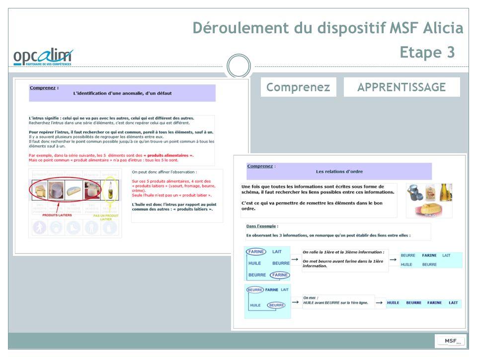 Déroulement du dispositif MSF Alicia Etape 3 APPRENTISSAGEComprenez