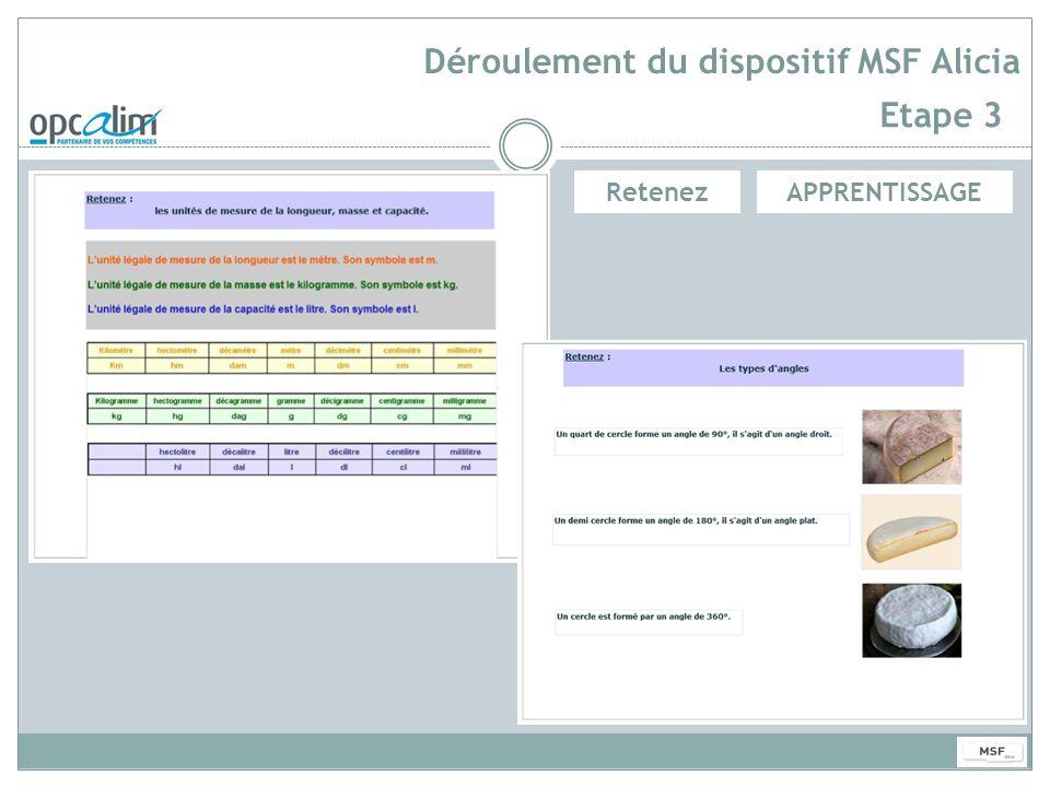 Déroulement du dispositif MSF Alicia Etape 3 APPRENTISSAGERetenez