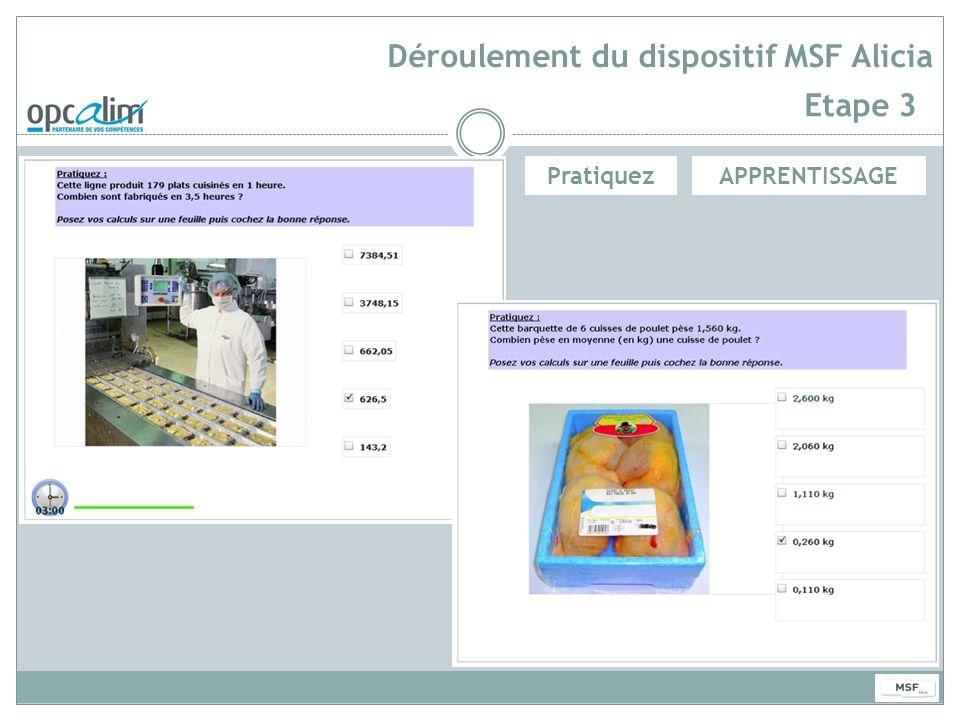 Déroulement du dispositif MSF Alicia Etape 3 APPRENTISSAGEPratiquez