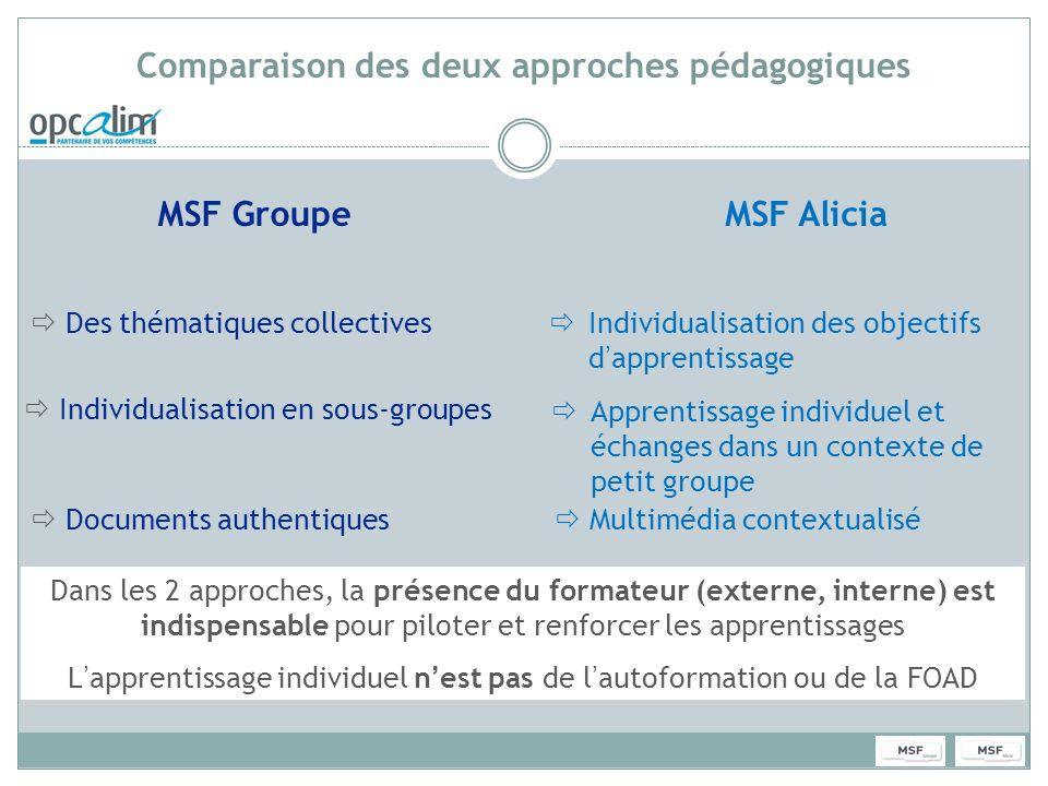 Comparaison des deux approches pédagogiques MSF GroupeMSF Alicia Des thématiques collectives Individualisation en sous-groupes Documents authentiques