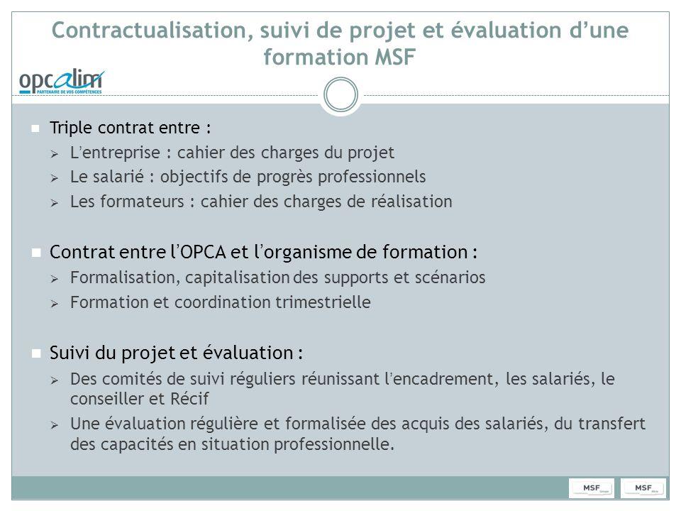 Contractualisation, suivi de projet et évaluation dune formation MSF Triple contrat entre : Lentreprise : cahier des charges du projet Le salarié : ob