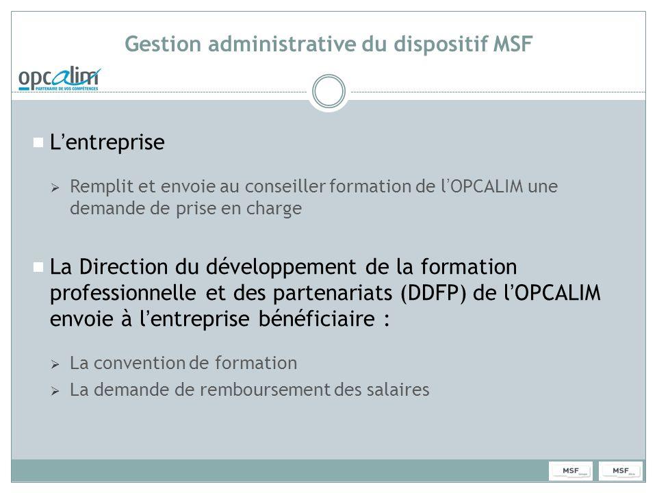 Gestion administrative du dispositif MSF Lentreprise Remplit et envoie au conseiller formation de lOPCALIM une demande de prise en charge La Direction