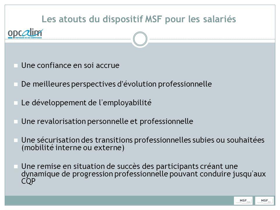 Les atouts du dispositif MSF pour les salariés Une confiance en soi accrue De meilleures perspectives dévolution professionnelle Le développement de l