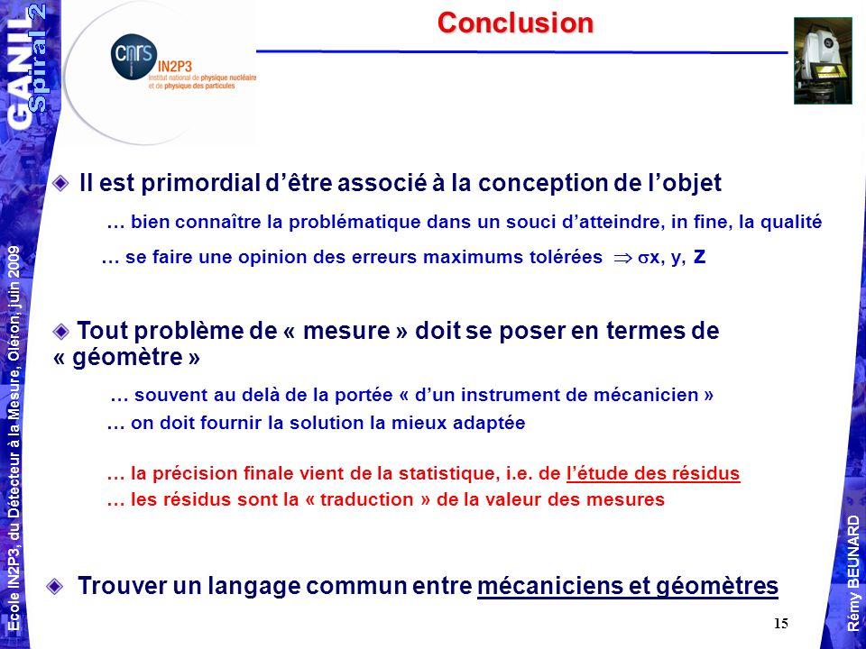 Ecole IN2P3, du Détecteur à la Mesure, Oléron, juin 2009 Rémy BEUNARD 15Conclusion Il est primordial dêtre associé à la conception de lobjet … bien connaître la problématique dans un souci datteindre, in fine, la qualité … se faire une opinion des erreurs maximums tolérées x, y, z Tout problème de « mesure » doit se poser en termes de « géomètre » … souvent au delà de la portée « dun instrument de mécanicien » … on doit fournir la solution la mieux adaptée … la précision finale vient de la statistique, i.e.