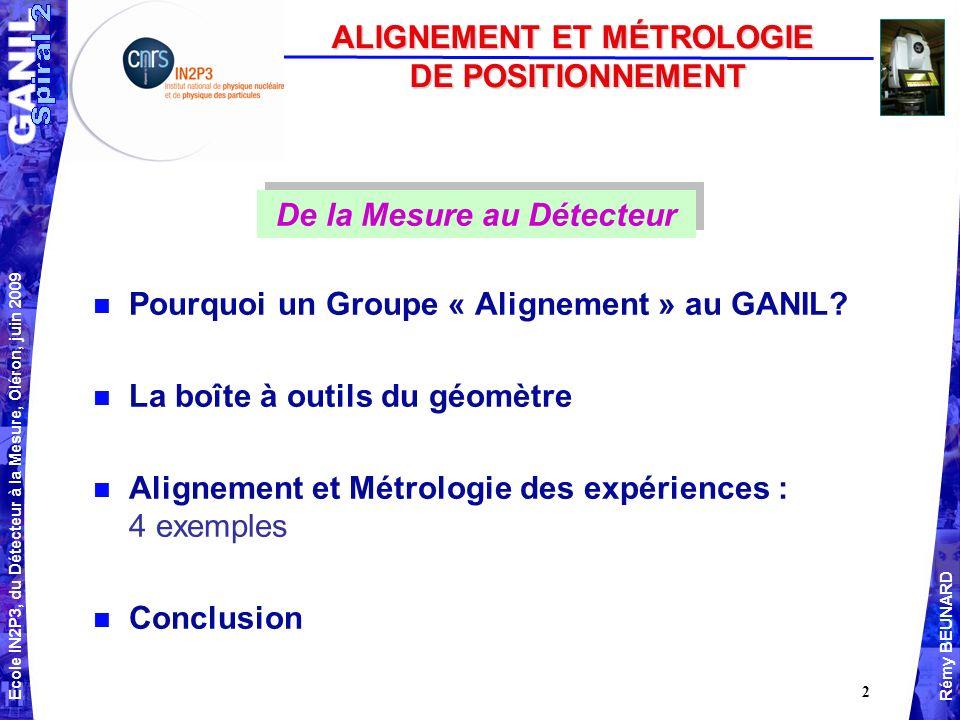 Ecole IN2P3, du Détecteur à la Mesure, Oléron, juin 2009 Rémy BEUNARD 2 n Pourquoi un Groupe « Alignement » au GANIL.