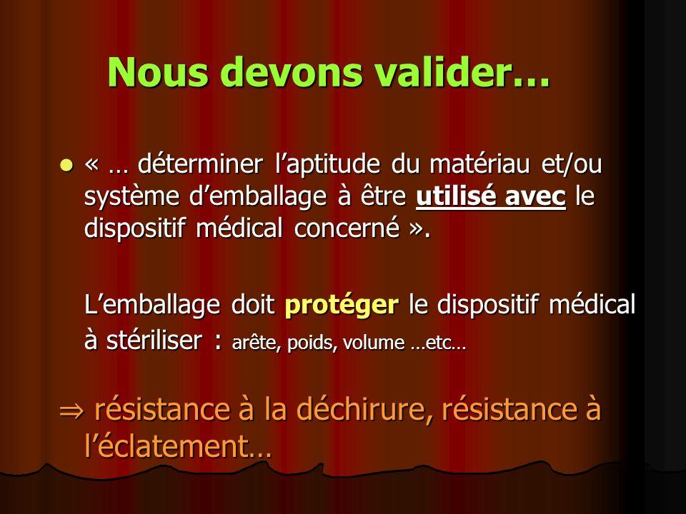 Nous devons valider… « … déterminer laptitude du matériau et/ou système demballage à être utilisé avec le dispositif médical concerné ». « … détermine
