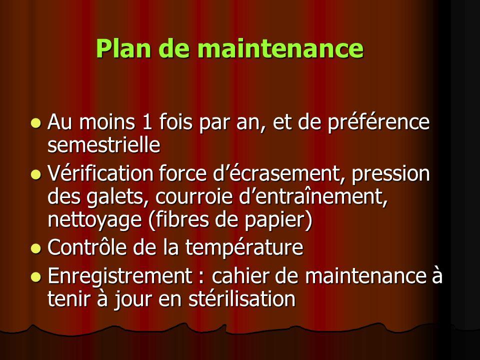 Plan de maintenance Au moins 1 fois par an, et de préférence semestrielle Au moins 1 fois par an, et de préférence semestrielle Vérification force déc