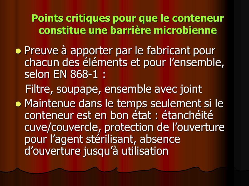Points critiques pour que le conteneur constitue une barrière microbienne Preuve à apporter par le fabricant pour chacun des éléments et pour lensembl