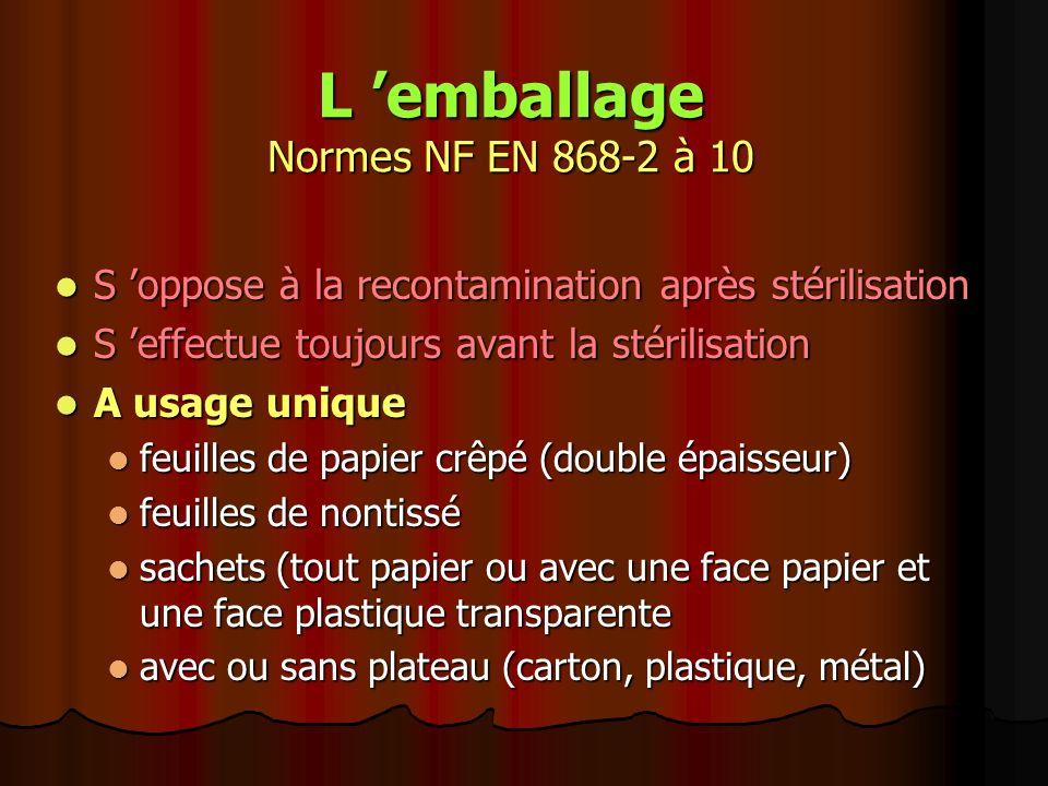 L emballage Normes NF EN 868-2 à 10 S oppose à la recontamination après stérilisation S oppose à la recontamination après stérilisation S effectue tou