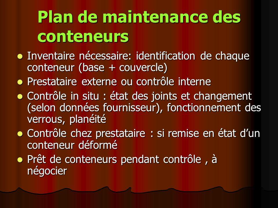 Plan de maintenance des conteneurs Inventaire nécessaire: identification de chaque conteneur (base + couvercle) Inventaire nécessaire: identification