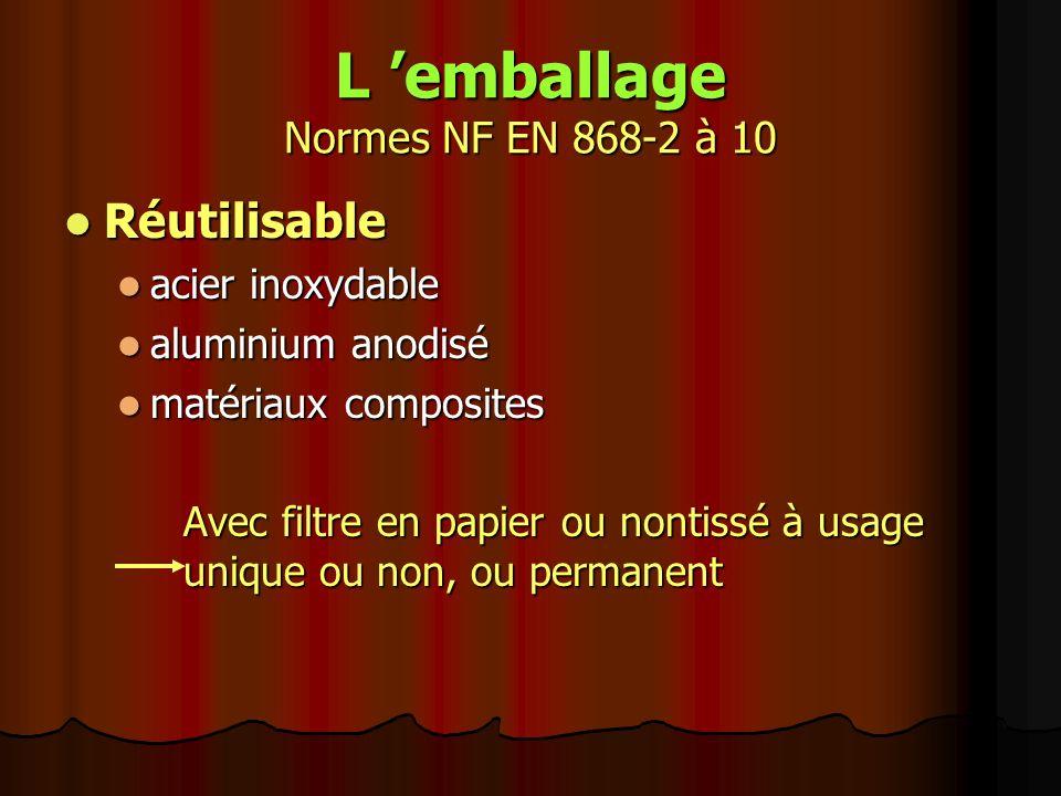 « Ne pas utiliser si l emballage est endommagé » NF EN 868-5 la vérification de l intégrité de l emballage est l ultime contrôle, sous la responsabilité de l utilisateur