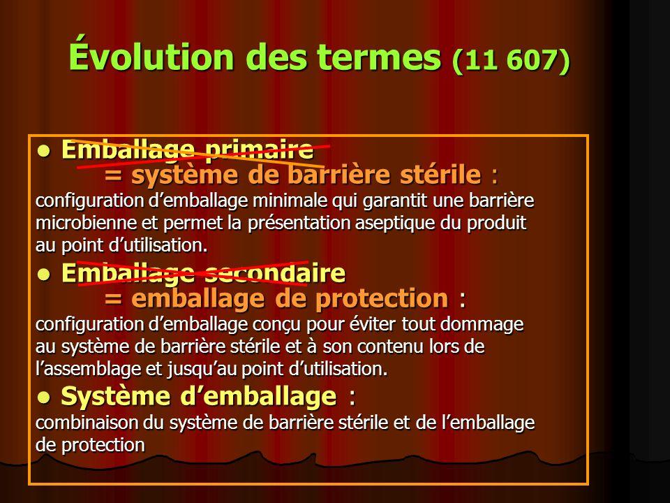 Évolution des termes (11 607) Emballage primaire = système de barrière stérile : Emballage primaire = système de barrière stérile : configuration demb