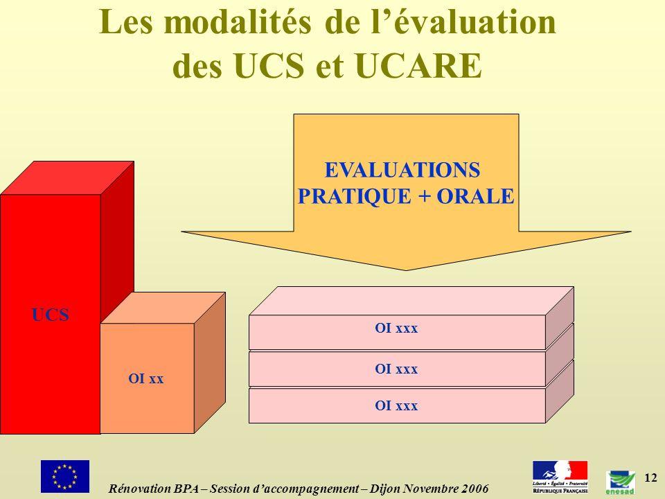12 Les modalités de lévaluation des UCS et UCARE UCS OI xx OI xxx EVALUATIONS PRATIQUE + ORALE Rénovation BPA – Session daccompagnement – Dijon Novembre 2006