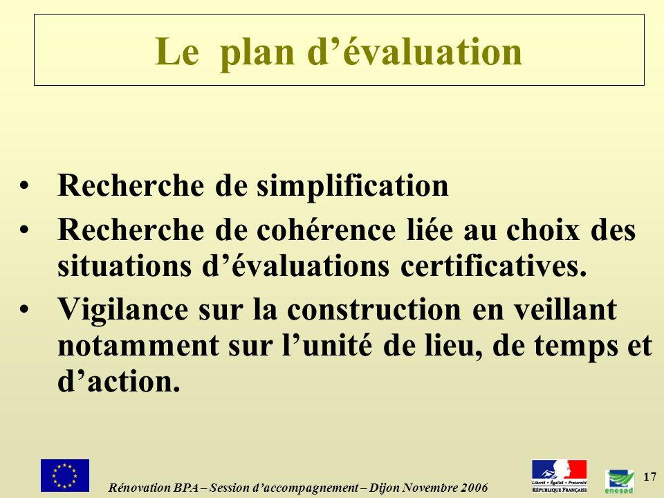 17 Le plan dévaluation Recherche de simplification Recherche de cohérence liée au choix des situations dévaluations certificatives.