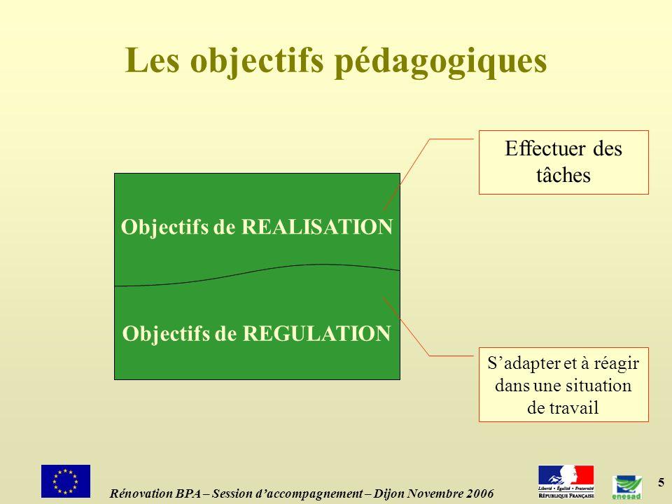 5 Les objectifs pédagogiques Objectifs de REALISATION Objectifs de REGULATION Effectuer des tâches Sadapter et à réagir dans une situation de travail Rénovation BPA – Session daccompagnement – Dijon Novembre 2006