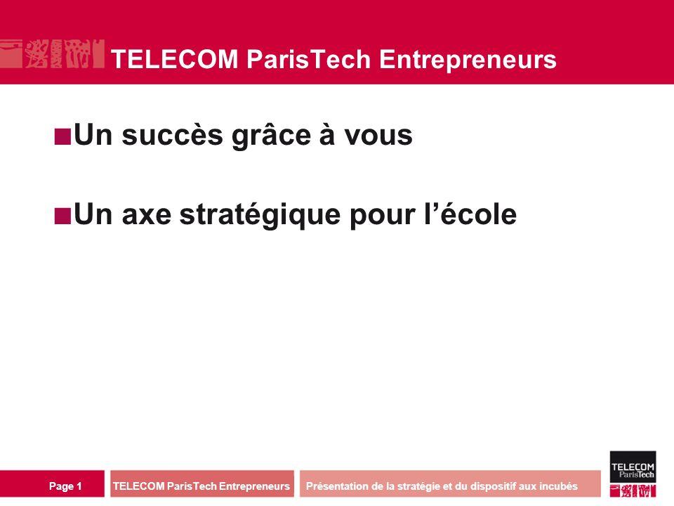 direction ou services TELECOM ParisTech Entrepreneurs Page 1 TELECOM ParisTech Entrepreneurs Un succès grâce à vous Un axe stratégique pour lécole Présentation de la stratégie et du dispositif aux incubés