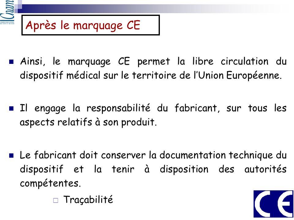 Après le marquage CE Ainsi, le marquage CE permet la libre circulation du dispositif médical sur le territoire de lUnion Européenne. Il engage la resp