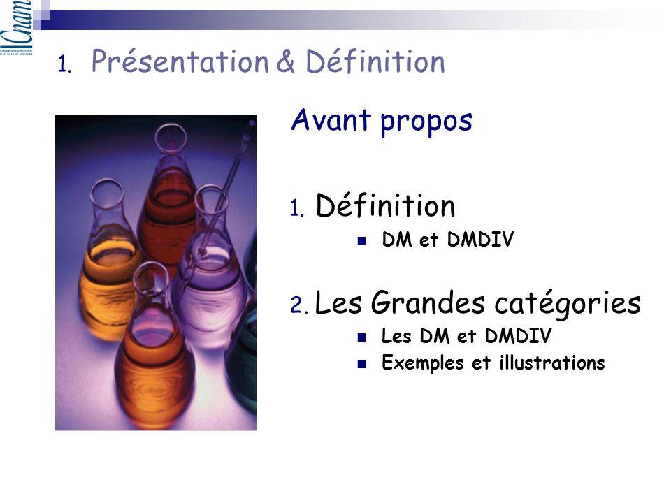 1. Présentation & Définition Avant propos 1. Définition DM et DMDIV 2. Les Grandes catégories Les DM et DMDIV Exemples et illustrations
