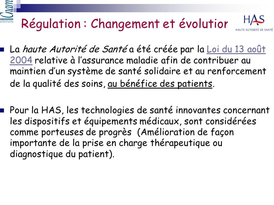 Régulation : Changement et évolution La haute Autorité de Santé a été créée par la Loi du 13 août 2004 relative à lassurance maladie afin de contribue