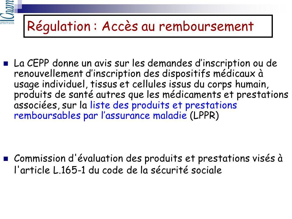 La CEPP donne un avis sur les demandes dinscription ou de renouvellement dinscription des dispositifs médicaux à usage individuel, tissus et cellules
