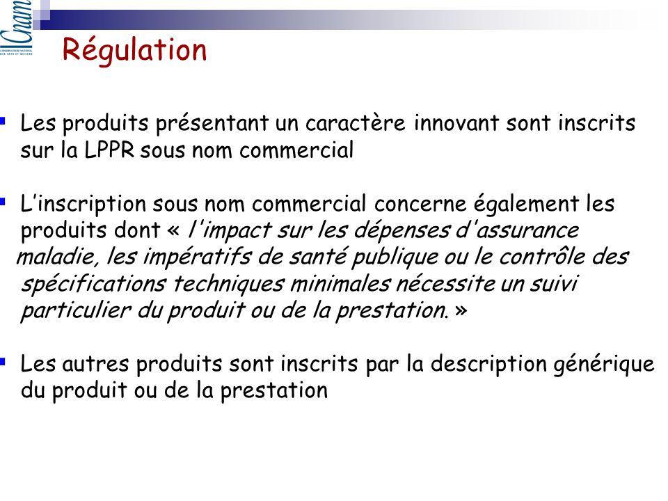 Régulation Les produits présentant un caractère innovant sont inscrits sur la LPPR sous nom commercial Linscription sous nom commercial concerne égale